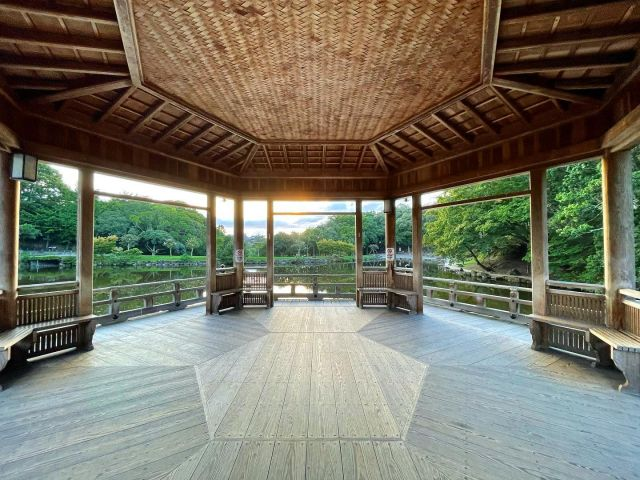 奈良公園にある浮見堂です。 美しい檜皮葺の六角形のお堂で、正面に立った時ゾワゾワっとしました。 大正に建った建物ですが平成に修繕し今に至っている様です。 池に浮かんだお堂の内部空間はとても見晴らし良く心地いい。 皆の憩いの場になっています。  #奈良市 #浮見堂 #六角形 #奈良公園 #奈良公園鷺池 #美しい建築  #美しい建物  #大正建築 #檜皮葺